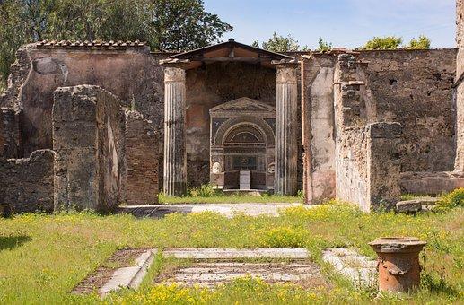 Pompeii, Pompei, Columnar, Fountain, House, Excavation