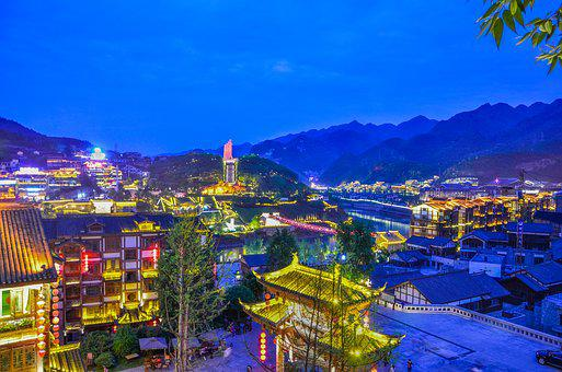 The Ancient Town, Night View, Serenity, Maotai Town