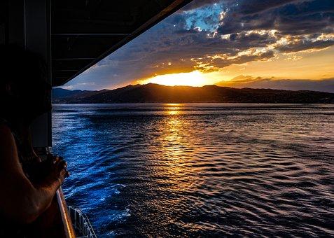 Sunset, Italy, Sicily, Cruise, Voyage, Vacation, Ship