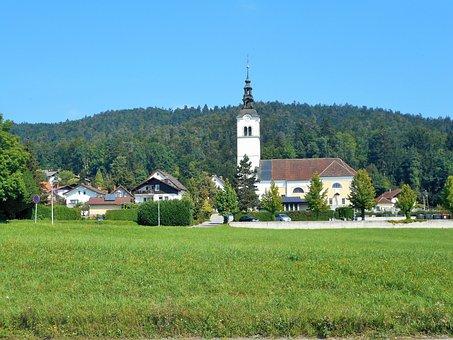 Lublijana, Slovenia, Landscape, Church, Nature, Prado