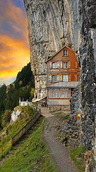 Alp, Hotel, Sunset, Sky, Mountain, Cliff, Ebenalp