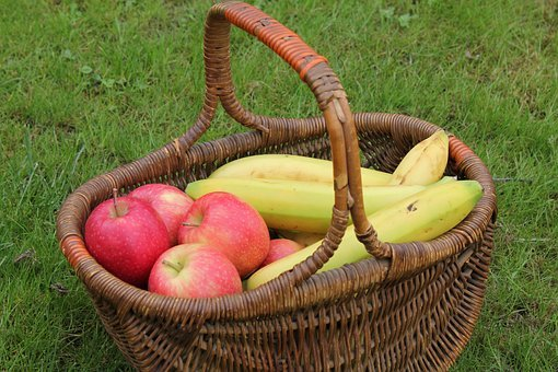 Basket, Fruit, Apples, Bananas, Wicker, Cane