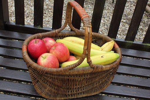 Basket, Fruit, Apples, Bananas, Wicker, Cane