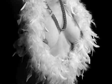 Burlesque, Feather, Boa, Breasts, Act, Act Of Part Of