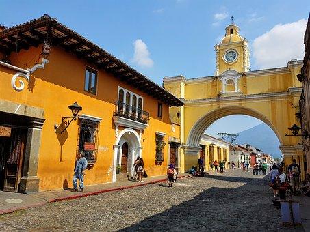 Yellow, Architecture, Building, Old, Guatemala, Antigua