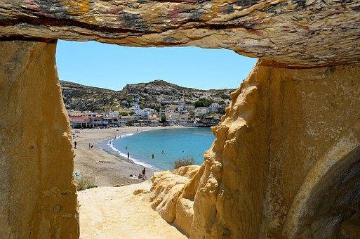Crete, Matala, Greek Island, Caves, Sea, Rock, Holiday