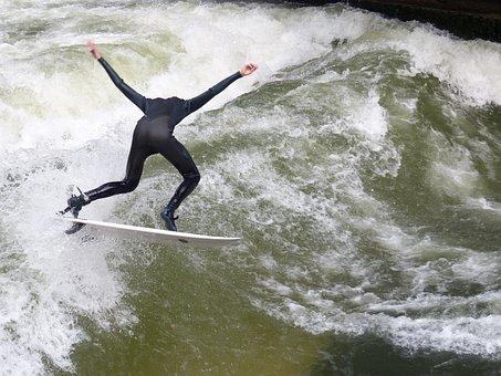 Eisbach, Surfer, Surfing, Surf, English Garden, Bavaria