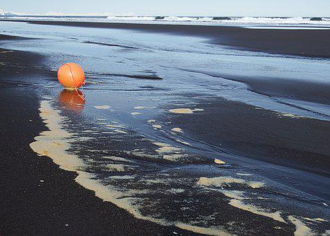 Ocean, Beach, Wave, Foam, A Balloon, Orange, Sand, Rock