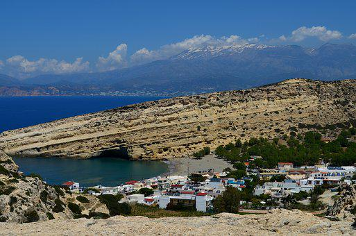 Crete, Matala, Greek Island, Rock, Caves, Sea, Holiday