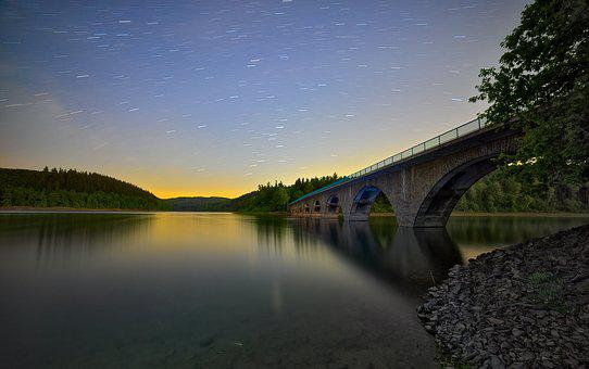 Astro, Startrails, Star, Night, Bridge, Lake, Water