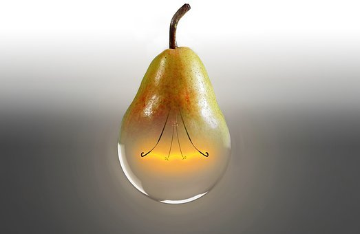 Pear, Light Bulb, Bioglühbirne, Idea
