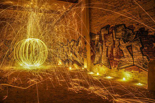 Steel Wool, Fire, Light, Photograph, Long Exposure
