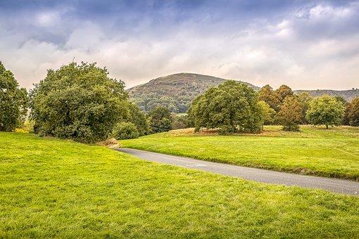 Malvern Hills, Distant, Landscape, Field, Grass