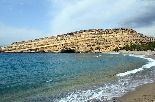 Crete, Matala, Greek Island, Caves, Rock, Sea, Holiday