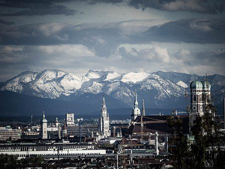 Munich, Mountains, Frauenkirche, Mood, State Capital