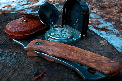 Winter, Knife, Compass, Zalesactvo, Nature, Survival
