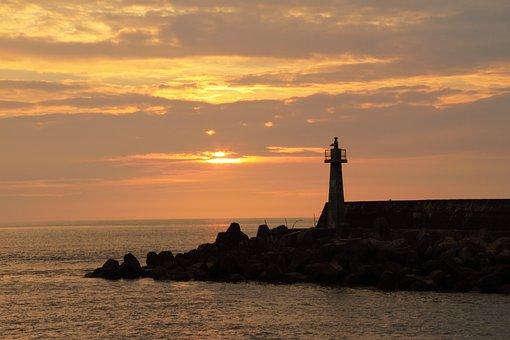 Sunset, Port, Lighthouses, The Evening Sun, Gold Yellow