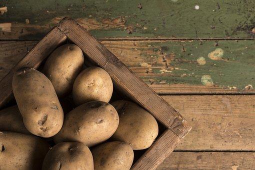 Potato, Potato Basket, Board, Old, Food