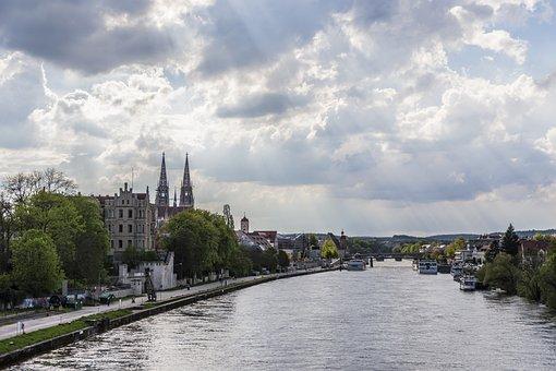 Regensburg, Dom, Panorama, Danube, Sky, Sunbeam, Church