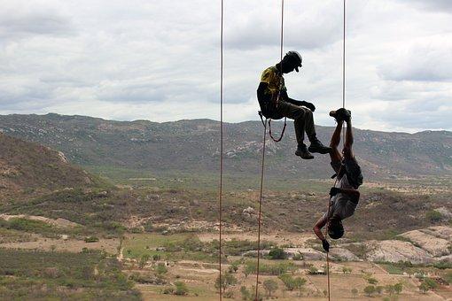Climb, Abseil, Rock, Climber, Rope, Secure
