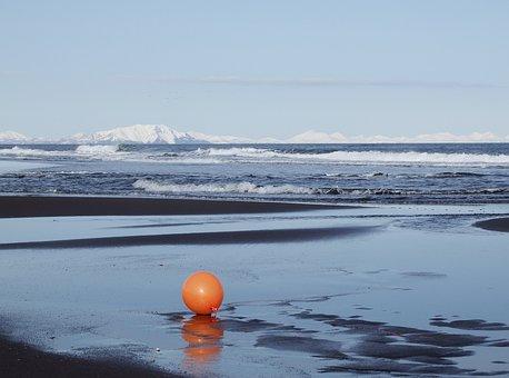 Ocean, Beach, Wave, A Balloon, Orange, Sand, Snow