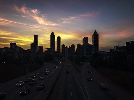 Atlanta, Urban, Skyline, Outline, Shadows, Sunset