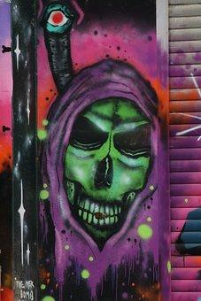 Graffiti, Skull And Crossbones, Purple, Green, Violet