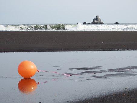 Ocean, Beach, Wave, A Balloon, Orange, Sand, Rock