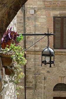 Assisi, Medieval Lantern, Italy, Architecture, Medieval