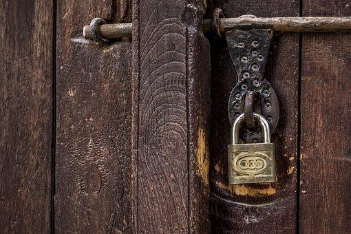 Door, Padlock, Lock, Wall, Wood, Texture, Paint, Bar