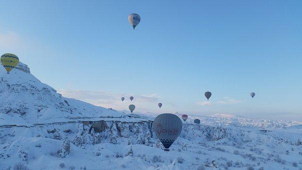 Turkey, Cappadocia, Hotair Balloon Flight, Winter