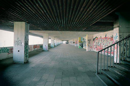 Underpass, Stadium, Leave, Urban, Building, Factory