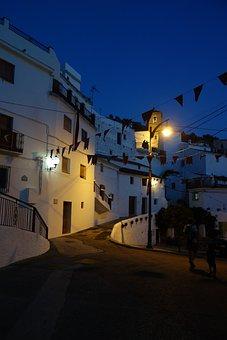 Night, Andalusia, Floor Lamp, Blue, White, Luminaire