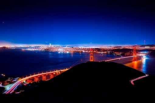 San Francisco, Golden Gate Bridge, Night, Nighttime