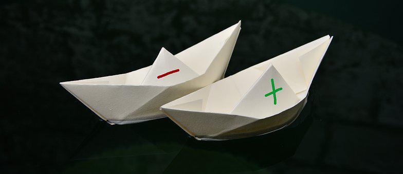 Paper Boat, Paper, Folded, Plus Minus, Swim, Ships