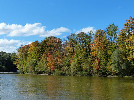 Autumn, Isar, Forest, River, Munich, Water, Barbecue