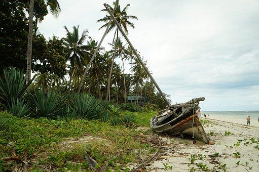 Boat, Wreck, Sea, Ocean, Blue, Shipwreck, Coast, Water