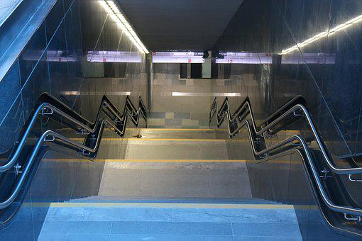 Stairs, Underpass, Metro, Blue, Colors, Shades Of