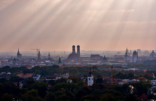 Munich, Sunbeam, Frauenkirche, Bavaria, State Capital