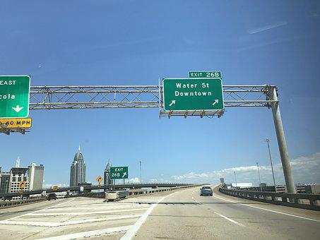 Downtown Mobile Alabama, Interstate 10, Street Sign