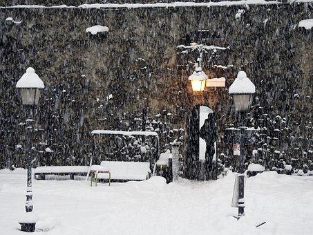 The Fort Of Vinadio, Snowfall, Street Lights