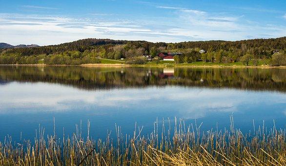 Brekstad, Trondheim, Norway, Norvey, Lake, Landscape