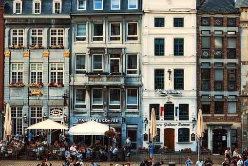 Aachen, Germany, City, Urban, People, Downtown