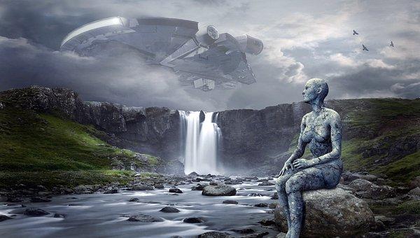 Spaceship, Ufo, Landscape, Waterfall, Forward