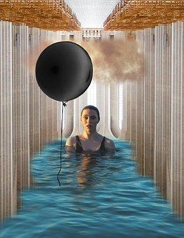 Woman, Young, Pool, Wet, Cloud, Dark Cloud, Balloon