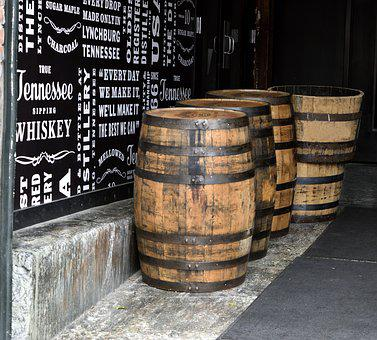 Whiskey Barrels, Bourbon, Barrel, Alcohol, Vintage, Old