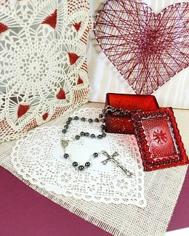 Heart, Valentine, Love, String Art, Doily, Beads