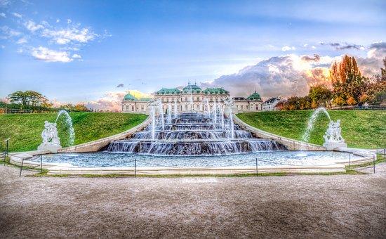 Fountain, Vienna, Belvedere, Hdr, Austria, Architecture