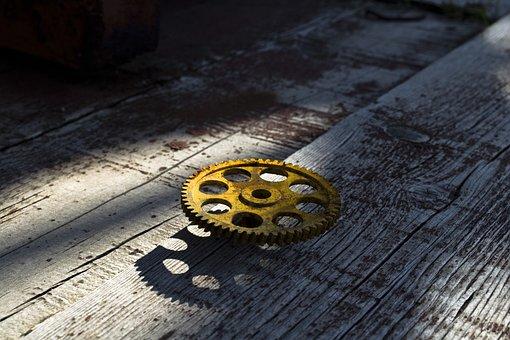 Gear, Metal, Rust, Tree, Old, Cogwheel