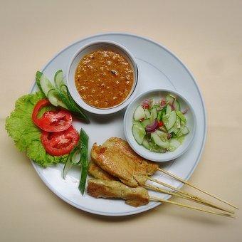 Thai Food, Chicken Satay, Skewer, Dipping Sauce